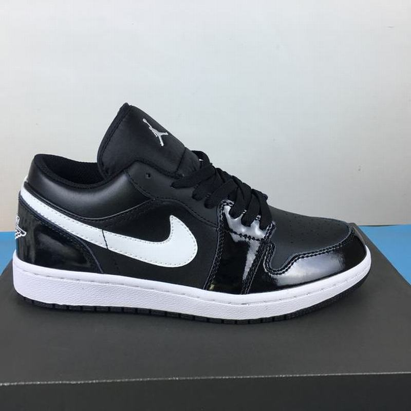 Air Jordan 1 Low Patent Leather Unisex Casual Shoes Black White